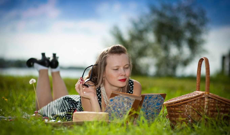 девушка, summer, настроение, devushki, траве,