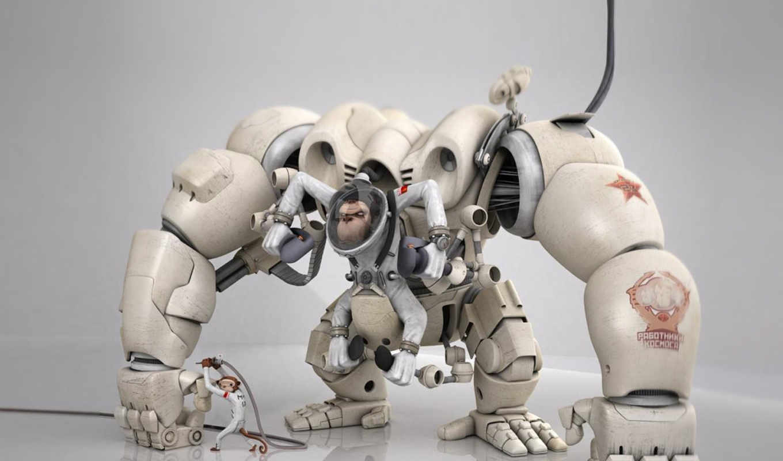 обои, роботы, графика, робот, обоев, коллекция, об