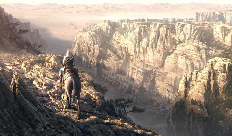 creed, assassin, assassins, directors, горы, лошадь, спина, всадник, art, this, cut, высота, обрыв, dans,