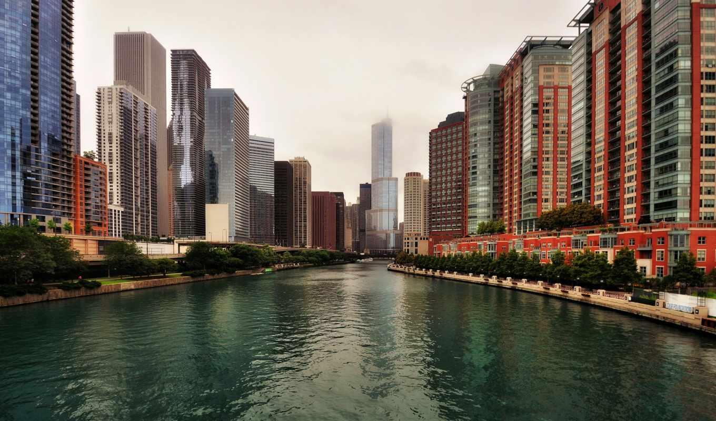 ,город,река,облака, высотки,