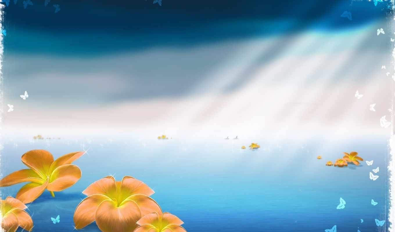 цветы, море, бабочки, пространство, полотно, лучи, синий,