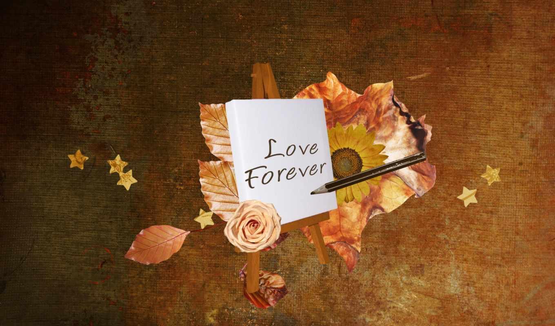 love, forever, рисунок, карандаш, цветы, листья, звёздочки, роза