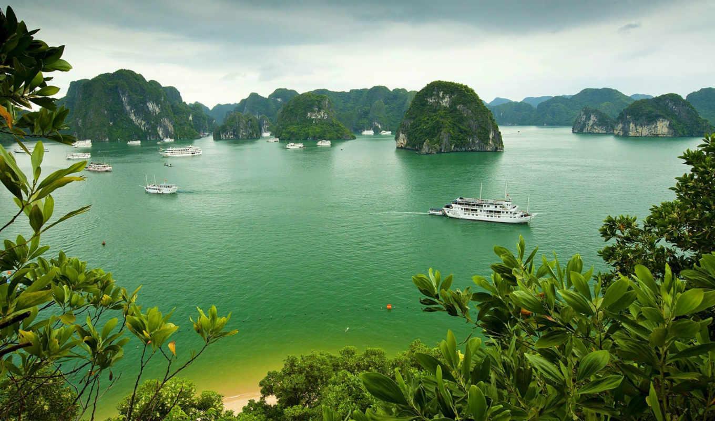 bay, halong, вьетнам, небо, kartinka, oblaka, остров,