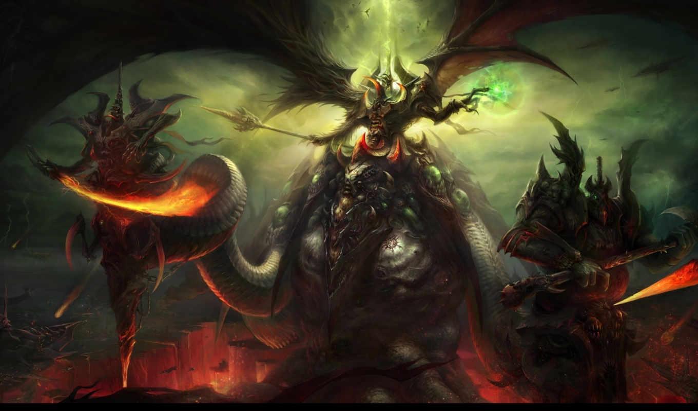 демоны, разлом, арт, магия, оружие, крылья, молнии, огонь, картинка, картинку, мыши, кнопкой,