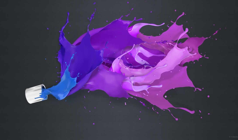 краски, abstract, широкоформатные, violet, bryzgi, подписи, purple, colors, дизайн, печать, всплеск, без,