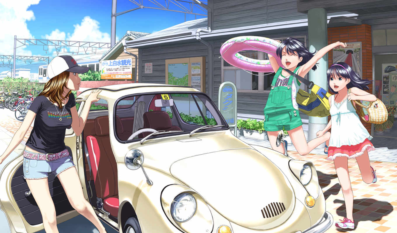 anime, summer, машина, девушки, fun,