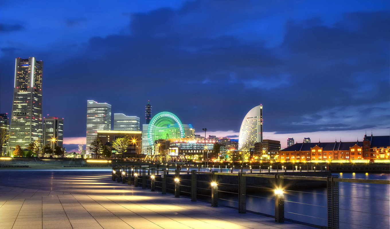 япония, порт, город, огни,