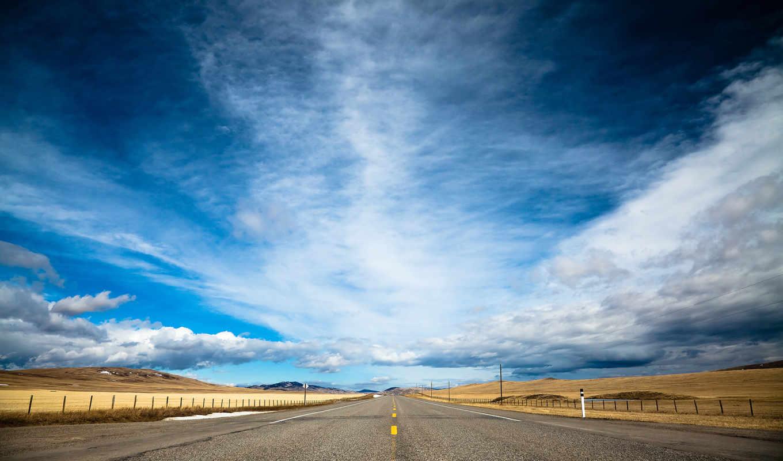 дорога, oblaka, небо, облаками,