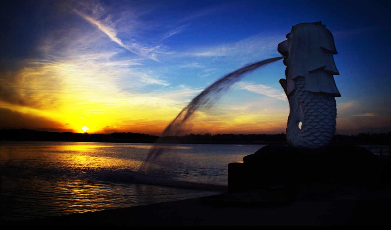 singapore, закат, merlion, fountain, восход, desktop, статуя, город,