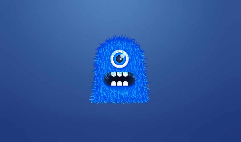 монстр, синий, мохнатый, чудик, одноглазый, зубастый, картинка,