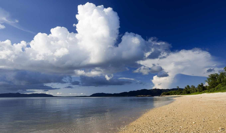 море, берег, облака, побережье, небо, растения, природа, песок, пейзаж, горы, изображение, картинка,