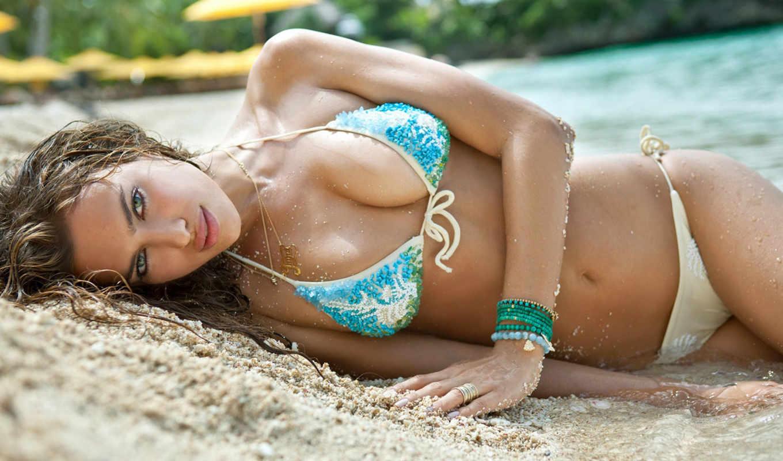 девушка, пляж, купальник, песок, море,