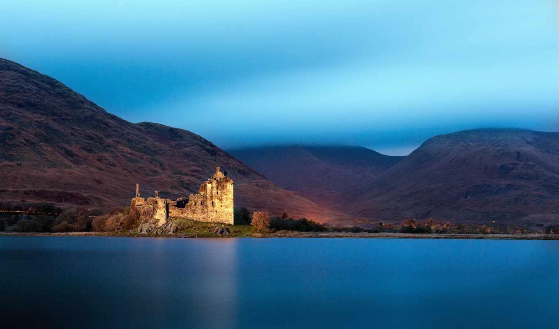 замок, пейзажи -, шотландия, castle, rar, great, озеро, this, великобритания,