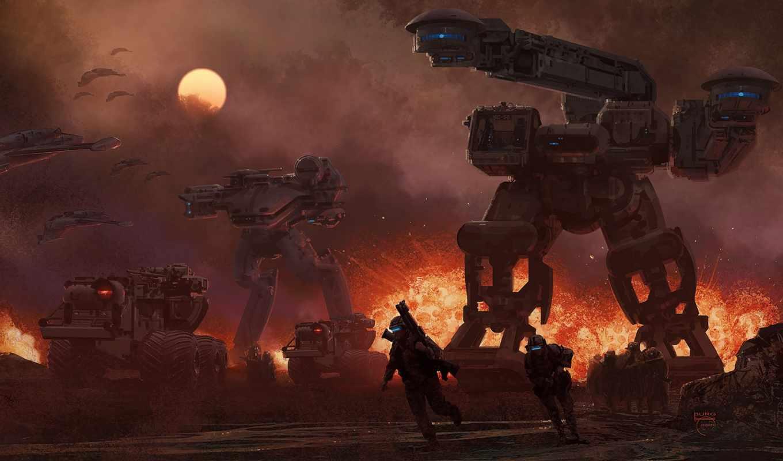 будущего, солдаты, шагатели, взрыв, корабли, техника, роботы, война, steve, burg, солнце,