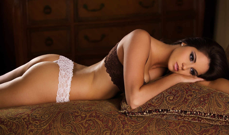 девушка, диване, белье, нижнее, диван,