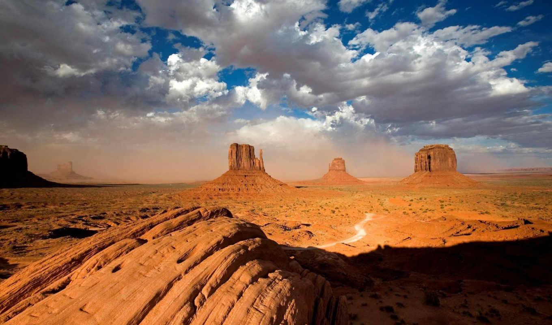 vast, пустынных, canyon, сооружения, архитектурные, пустыня, прерий, this, природа, дорога, mesas, облака, мелкий, горы, кустарник,
