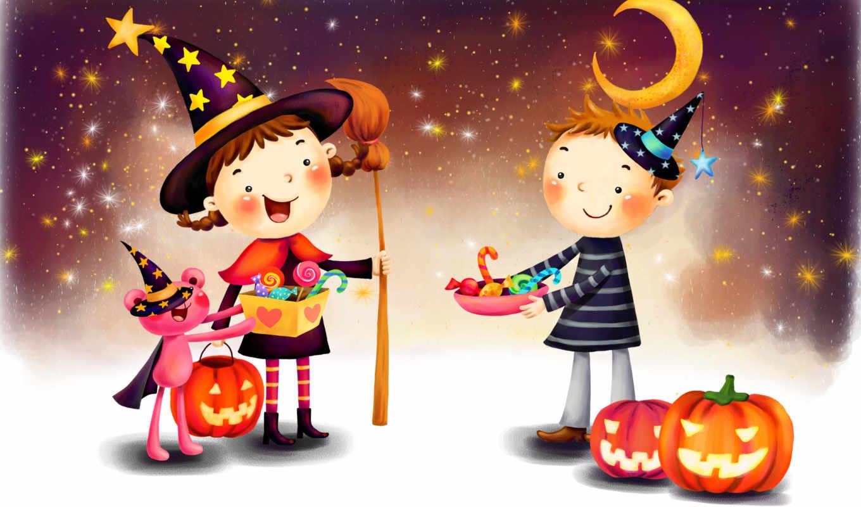 нарисованные, дети, мальчик, девочка, медвежонок, хеллоуин, тыква, конфеты, метла, ночь, звёзд, луна