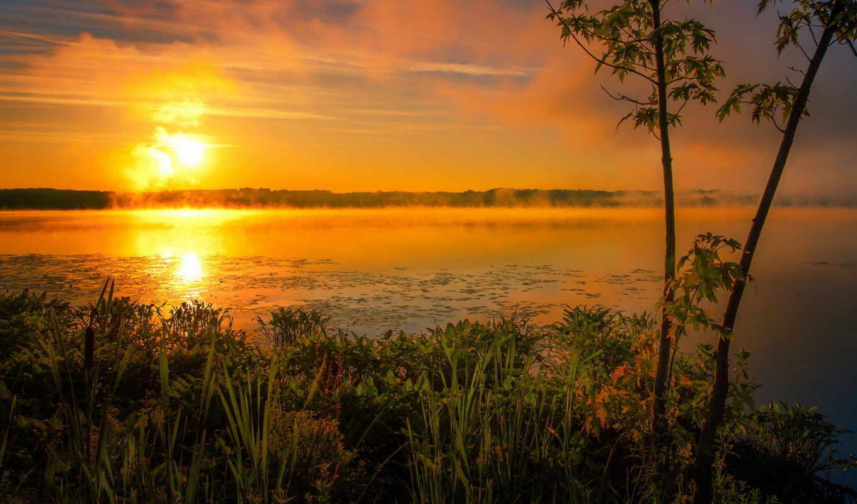 sun, summer, озеро, туман, утро, rising, картинка,
