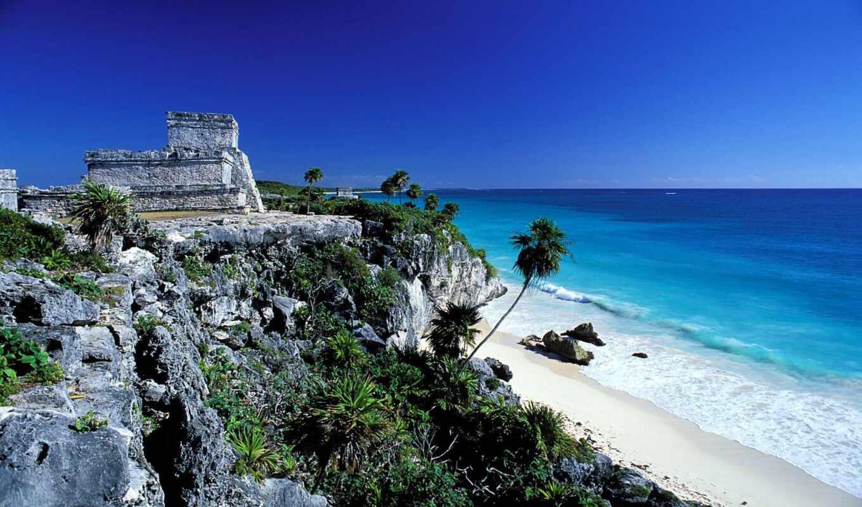 tulum, zona, мексиканский, arqueol-gica, del, rook, cancun, хороший, пляж