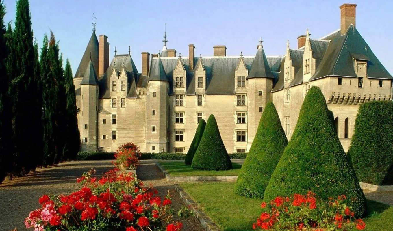 langeais, france, chateau, сад,