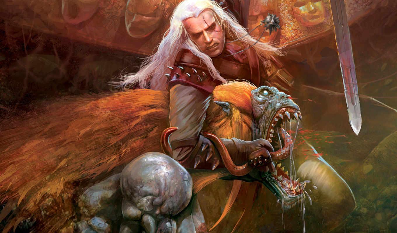 ведьмак, арт, стрыга, меч, медальон