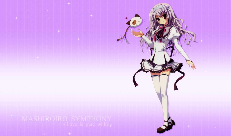 ましろ色シンフォニー, mashiroiro, symphony, 壁紙no, anime, purple, thighhighs,