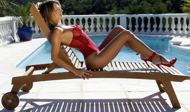 бассейн,девушка,белье,красное,