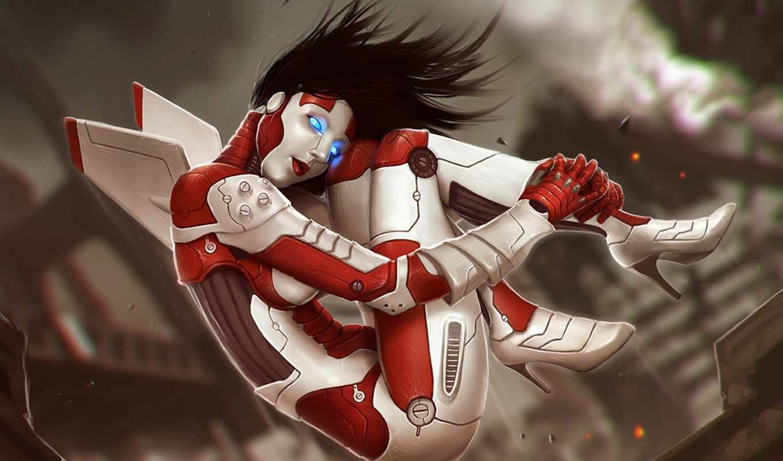 robot, роботы, техника, девушка, посетителей, графика, сайте,