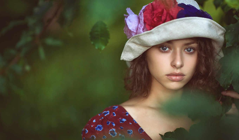 девушка, шляпа, грусть, галаза, листья