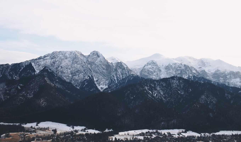 гора, снег, building, winter, pine, trees, заставка