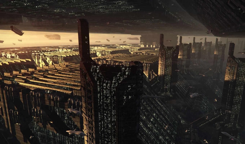 будущее, город, обои, арт, мегаполис, небоскребы,