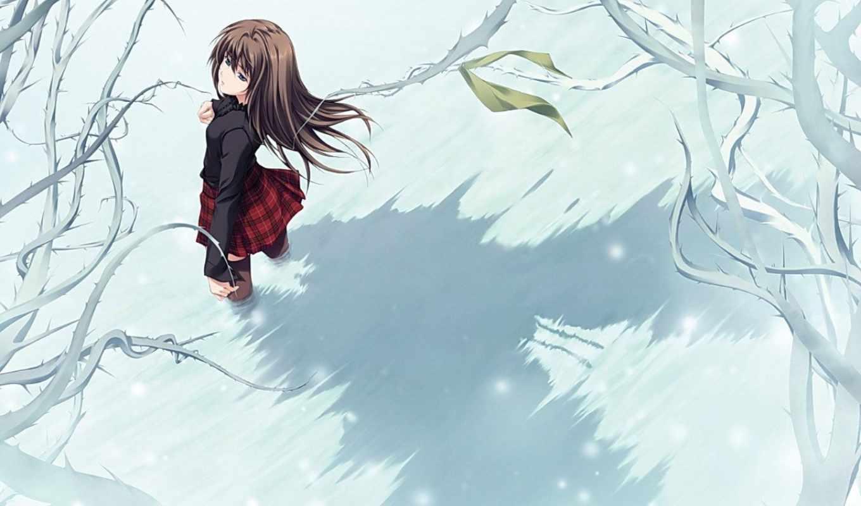 девушка, нежность, дерево, если, мороз, то, снег, девушки,