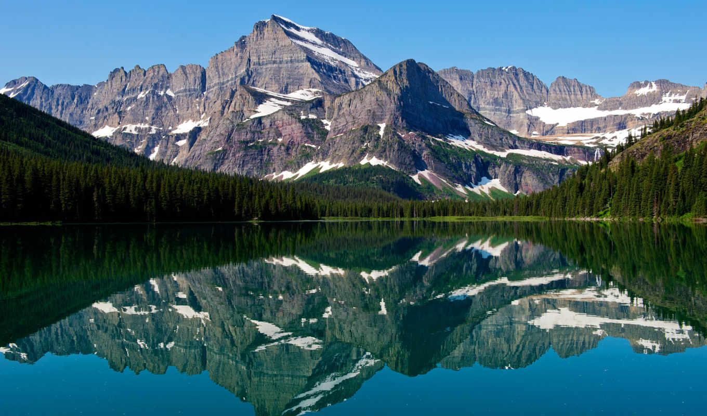 glacier, озеро, swiftcurrent, admin, park, national, usa, горы, mountains, montana,