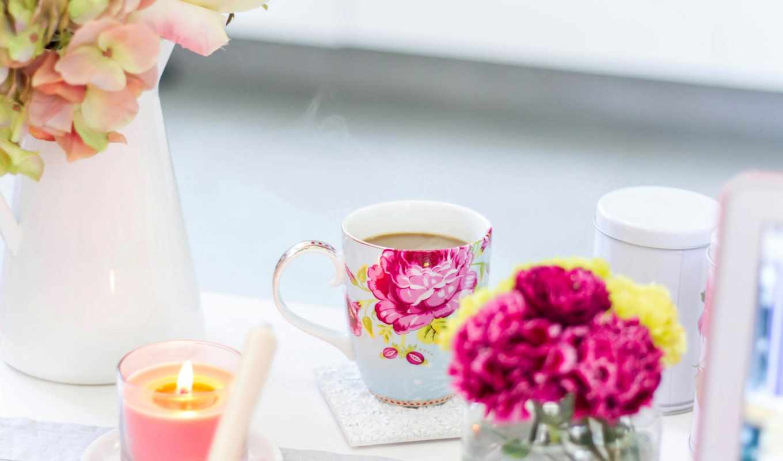 завтрак, cup, цветы, coffee, ваза, розы, утро,
