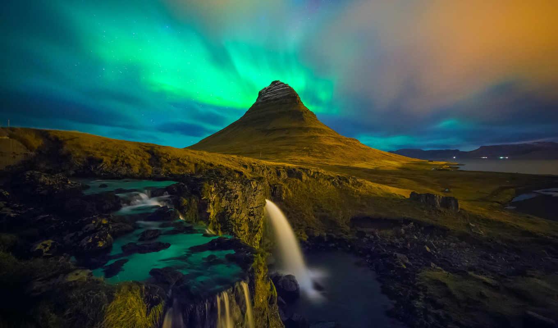 iceland, kirkjufell, водопад, aurora, borealis, гора, waterfalls,
