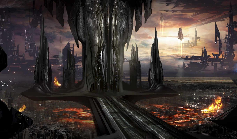 будущее, город, art, корабли, транспорт,