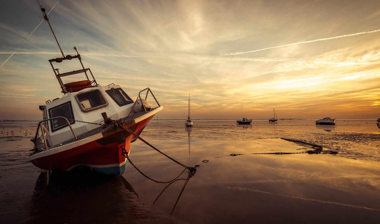 лодки, закат, море,
