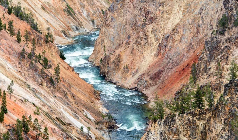 park, national, фото, каньон, grand, yellowstone, река, скалы, ущелье,