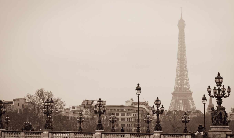 башня, eiffel, париж, мост, который, world, second, офис, пол