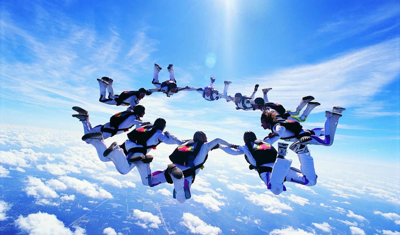 парашютом, прыжки, спорт, картинка, прыжок, мнгновение, динамика, iphone, экстремальный, люди, desktop, calendar, skydiving, free,