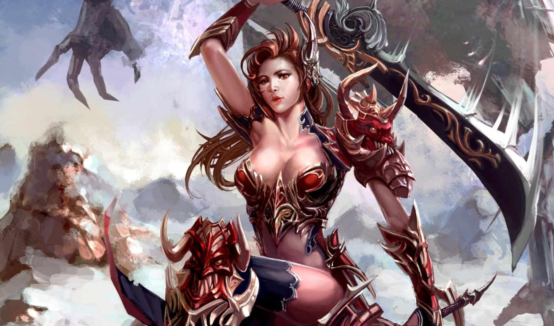 меч, девушка, скалы, арт, монстр, оружие, xiaobotong, картинку, правой, кнопкой, фэнтези,