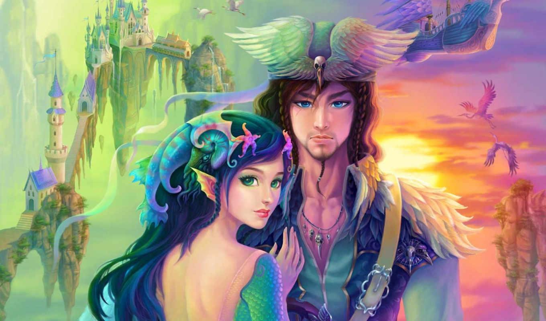 fantasy, lady, девушка, prince, парень, woman, замок, корабль, heron, man, арт, крылья, фантастика, badal, картинку, ракушки,