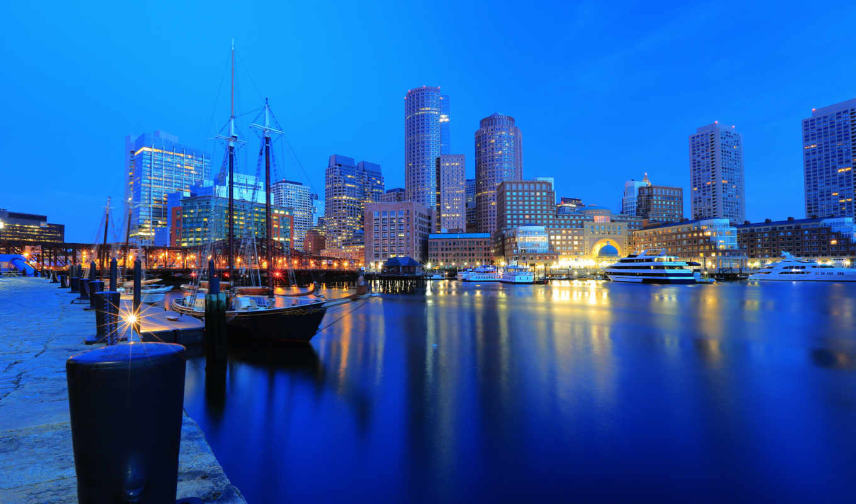 boston, гавань, ночной, город, яхты, здания, набережная, города,