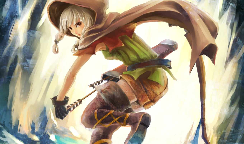 anime, лук, девушка, капюшон, стрелы, плащ, art, crown, дракон, колчан,