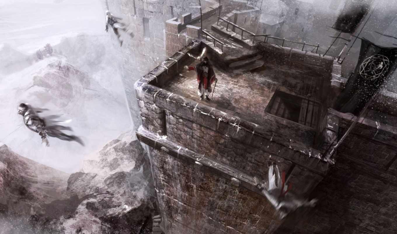 колдун, крыша, душі, ворон, взгляд, воин, крыше,