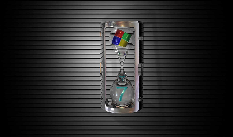 windows, se7en, лого, часы, песок