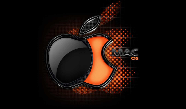 macos, лого, черный, оранжевый