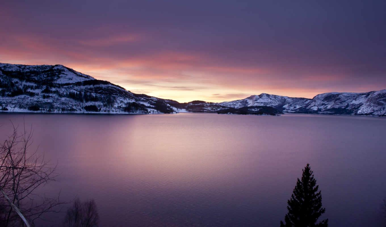 пейзажи -, красивые, природа, water, горы, озеро, oblaka, небо, trees,