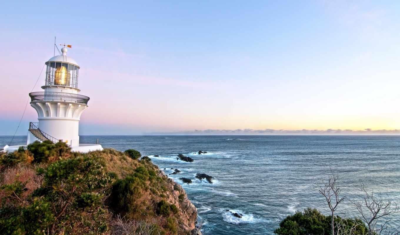 море, lighthouse, point, пейзажи -, австралия, небо, sugarloaf, кб,