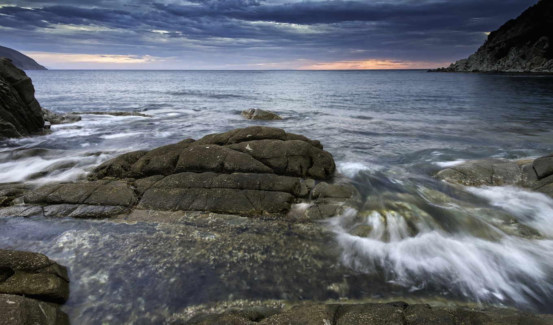 пейзажи -, море, закат, природа, берег, небо, горы, страница, со, вечернее, скачиваниям,